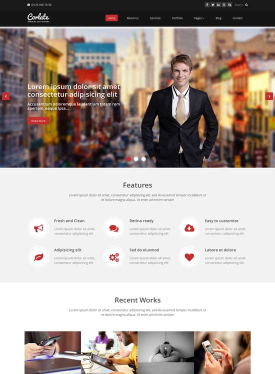 250 free responsive html5 css3 website templates wayhunt corlate free responsive business html template cheaphphosting Image collections